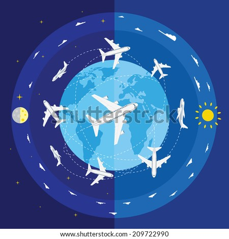 Vector illustration of airplane routes and planet Earth - stock vector