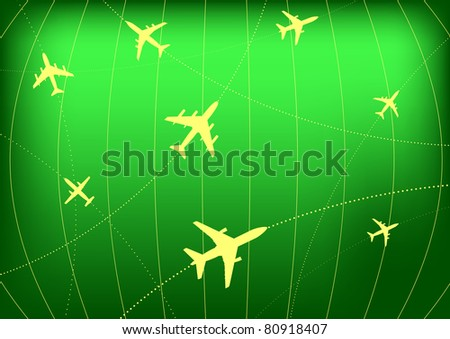 Vector Illustration of Airplane Routes on Radar Screen - stock vector