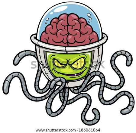 Vector illustration of Alien cartoon - stock vector