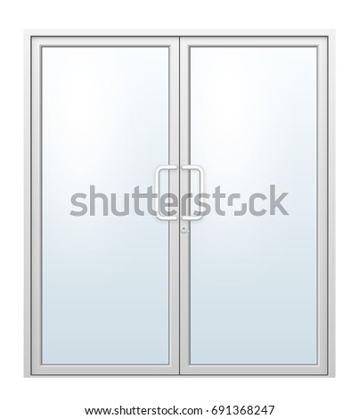 Vector illustration of aluminium door and chrome door handle and glass isolated on white background.