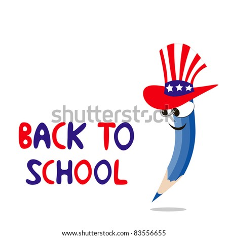 Vector illustration of american crayon is going to school