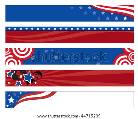 Vector illustration of  5 american flag banners. - stock vector