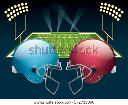 Vector illustration of american football helmets on a field. Vector EPS 10. EPS file contains transparencies. - stock vector