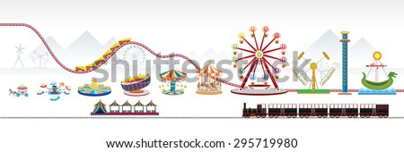 Vector Illustration of amusement park / theme park. - stock vector
