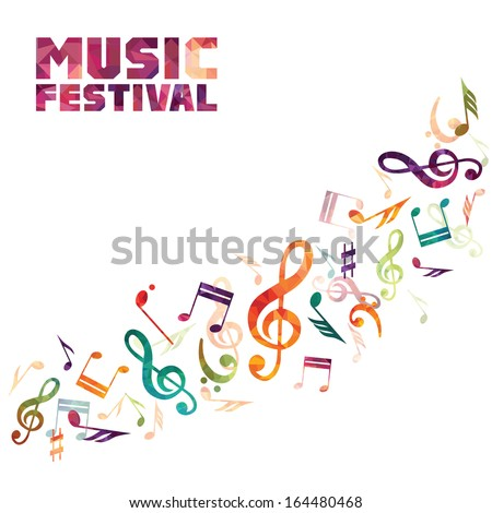 Vector Illustration of an Abstract Background with Colorful notes - stock vector