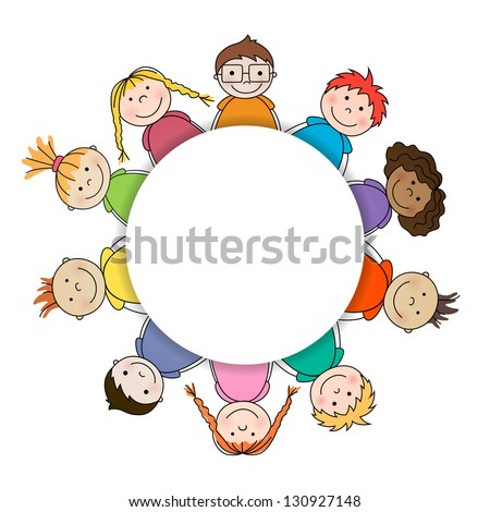 Vector Illustration of an Abstract Background with Kids - stock vector