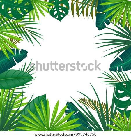 Vector Illustration of an Abstract Background with Tropical Leaves - stock vector