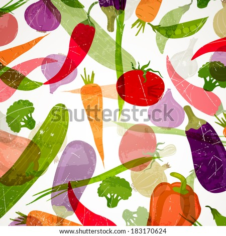 Vector Illustration of an Abstract Background with Vegetables - stock vector