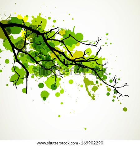 Vector Illustration of an Abstract Branch with Splashes - stock vector