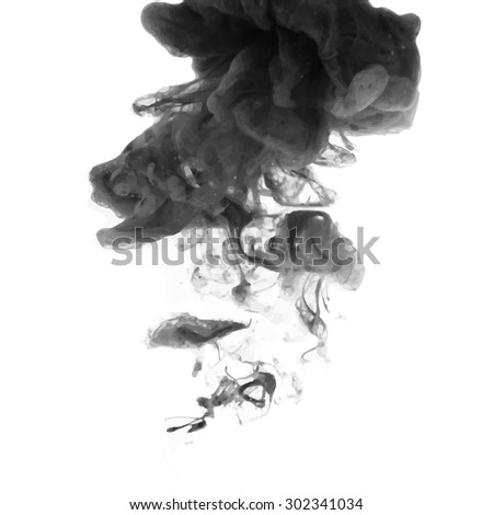 Vector Illustration of an Abstract Cloud. Black Ink swirling in Water - stock vector