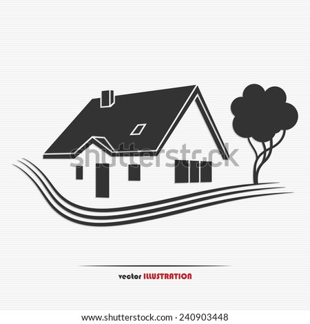 Vector illustration of an abstract countryside real estate for your design - stock vector
