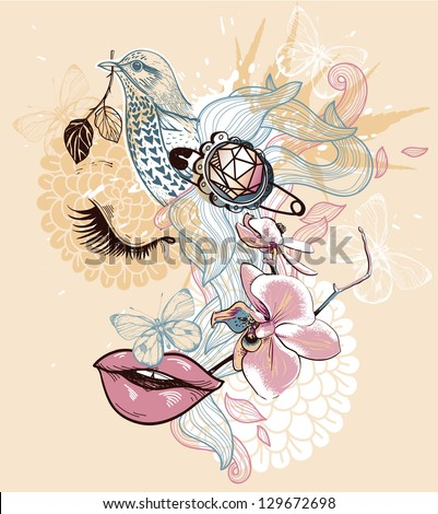 vector illustration of an abstract floral girl - stock vector