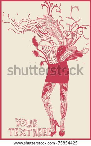 vector illustration of an abstract floral girl in a short red skirt