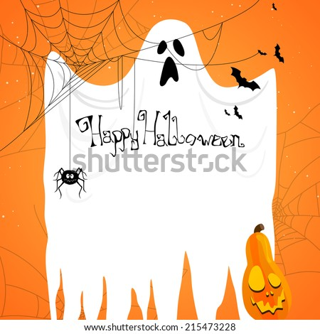 Vector Illustration of an Abstract Halloween Background with Ghost - stock vector