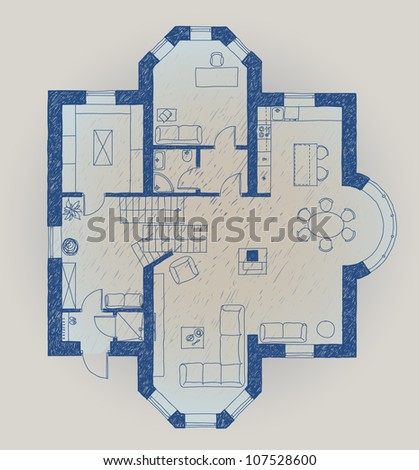 Vector illustration of an abstract house plan - stock vector