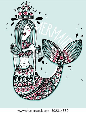 vector illustration of an abstract mermaid - stock vector