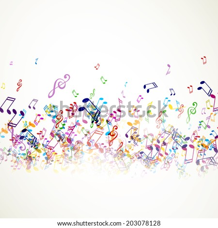 Vector Illustration of an Abstract Music Background with Notes - stock vector