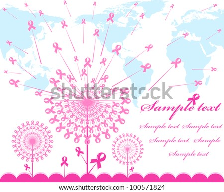 vector illustration of an abstract pink Support Ribbon  background with map silhouette - stock vector