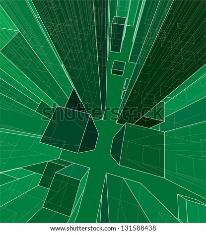 Vector illustration of an abstract virtual space. - stock vector
