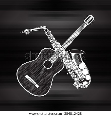 Vector illustration of an acoustic guitar and saxophone in a monochrome version - stock vector