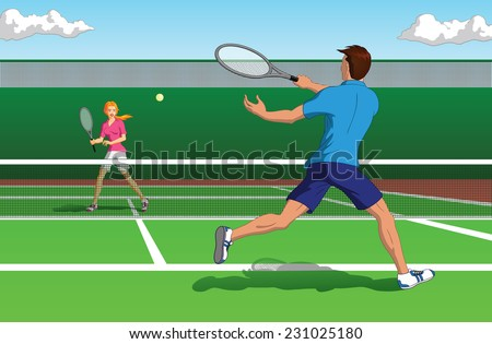 Vector illustration of an active man and woman playing tennis on a court. - stock vector