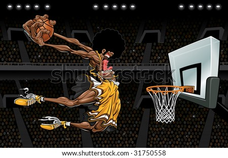 Vector illustration of an African American basketball player about .5 seconds away from destroying a basketball goal by way of a monstrous slam dunk in a crowd filled arena with flashbulbs popping.