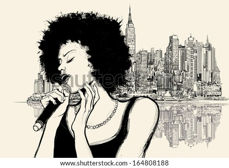 Vector illustration of an afro american jazz singer on cityscape background - stock vector