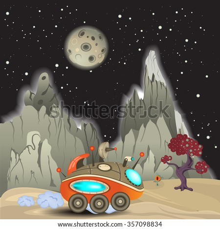 Vector illustration of an alien surface with a space car. - stock vector