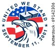 vector illustration of an American bald eagle with American flag stars and stripes and 9-11 World Trade Center twin tower building  with words United we stand September 11, 2001 - stock photo