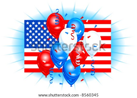 Vector Illustration of an American Flag with Balloons and Confetti
