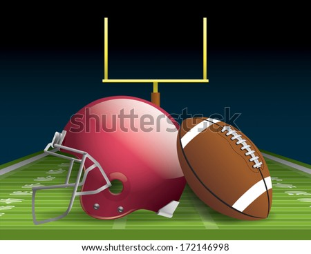 Vector illustration of an american football helmet, ball, and field. EPS 10. File contains transparencies and gradient mesh. - stock vector
