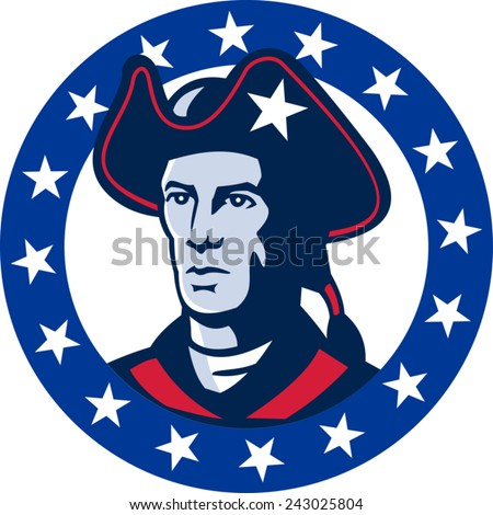 vector illustration of an american patriot minuteman militia revolutionary soldier set inside circle with stars around done in retro style.
