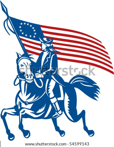 vector illustration of an American revolutionary general a riding horse with Betsy Ross Flag - stock vector