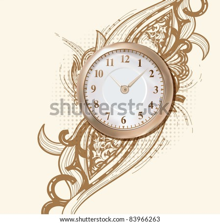 vector illustration of an ancient golden clock on an abstract background with a rich ornament - stock vector