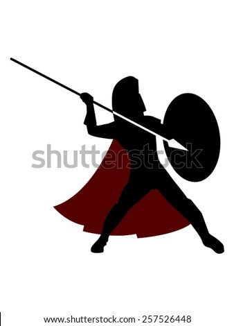 Vector Illustration of an ancient Greek or Roman warrior, wearing his coat, his helmet and armed with a spear. Can represent warriors like Spartans, Hoplites and other soldiers of the ancient world. - stock vector