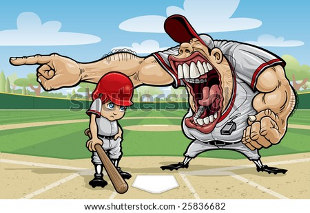 Vector illustration of an angry baseball coach yelling at a small boy child at home plate of a baseball field. Coach is yelling at the boy in the batter's box to go sit on the bench.