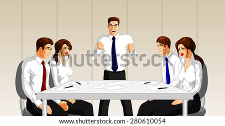 Vector illustration of an angry boss at a business meeting. - stock vector