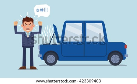 Vector illustration of an angry businessman standing in front of a broken car. Anger emotion. Flat style vector illustration