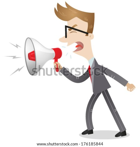 Vector illustration of an angry cartoon businessman with clenched fist screaming into a megaphone (JPEG version also available in my gallery) - stock vector