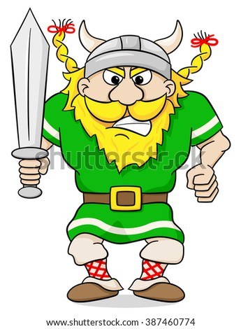 vector illustration of an angry viking with sword - stock vector