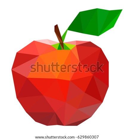 Vector illustration of an apple in style low poly design