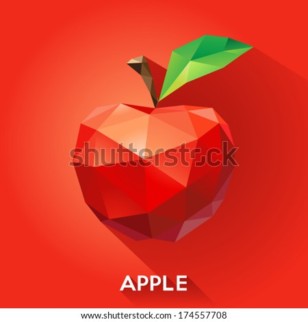 Vector illustration of an apple rendered in a geometric style - stock vector