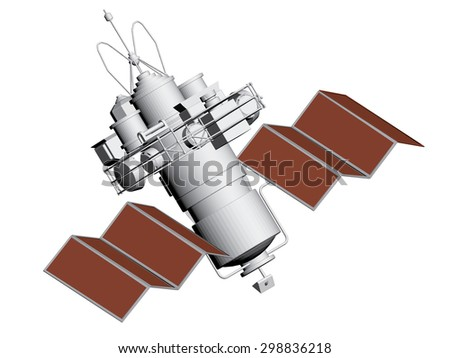 Vector illustration of an artificial satellite. Polygon. 3D. Isolated. EPS 8. - stock vector