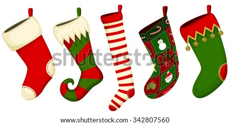 Vector illustration of an assortment of five Christmas stockings of various size and shape and color and design. - stock vector