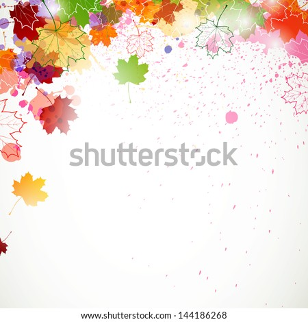 Vector Illustration of an Autumn Background with Abstract Leafs