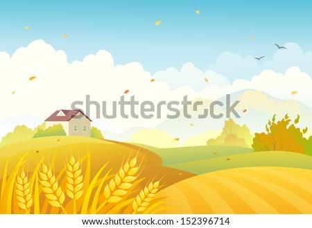 Vector illustration of an autumn farm landscape - stock vector
