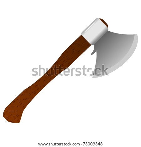 vector illustration of an ax with a wooden handle