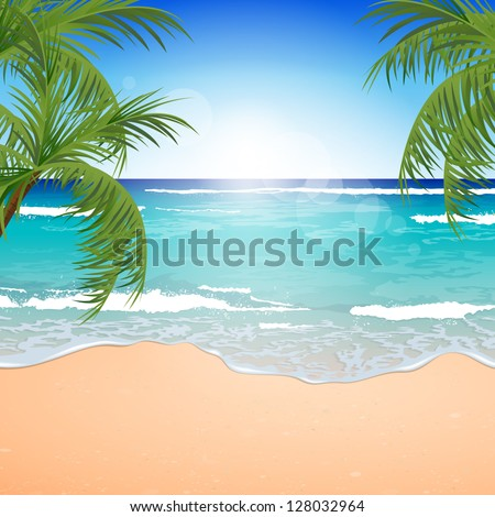 Vector Illustration of an Azure Ocean with Blue Sky and White Sand - stock vector