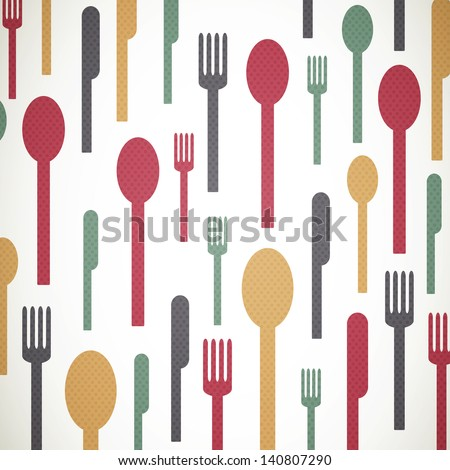 Vector Illustration of an Background with Abstract Cutlery - stock vector