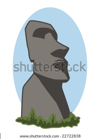 vector illustration of an Easter Island stone head - stock vector